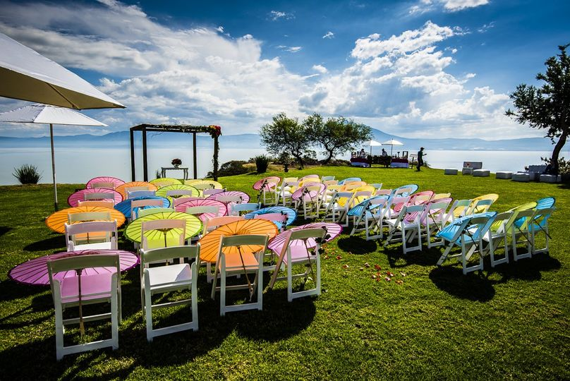 Ceremony chairs and umbrellas