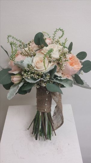 Romantic rustic bouquet - Garden roses, veronica, dusty miller and eucalyptus. Burlap handle...