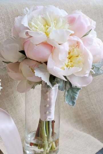 Romantic peonies and dusty miller bouquet