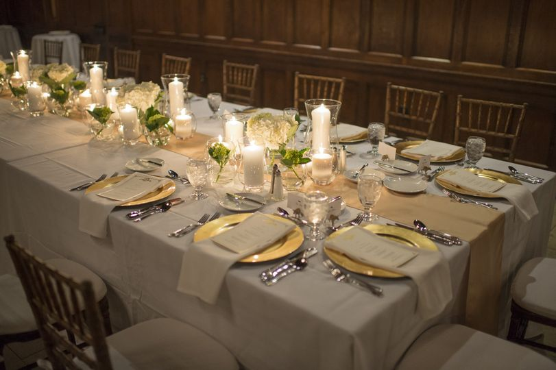 Candlelit table with floral decor