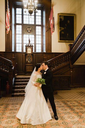 Couple in Harvard Hall Foyer