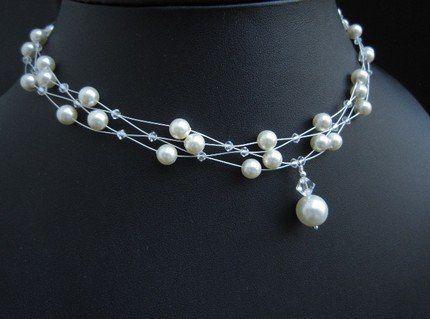Swarovski Pearl and Crystal Multi Strand Wire Necklace