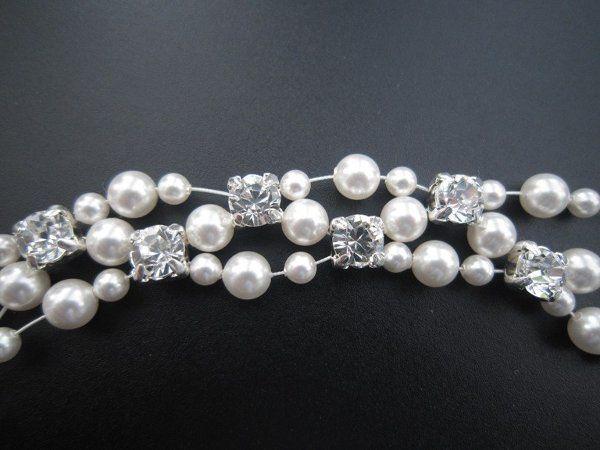 Swarovski Pearl and Crystal Multi Strand Wire Cuff Bracelet