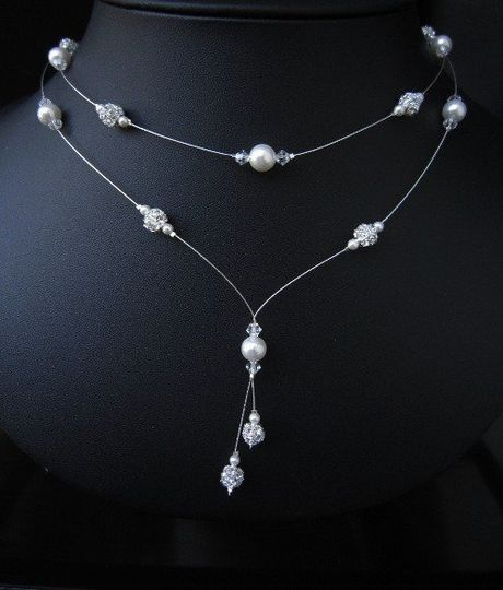 Bridal Y Drop Floating Pearl and Crystal Necklace by European Bride Jewelry