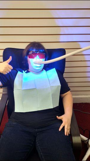 Brooke during her teeth whitening