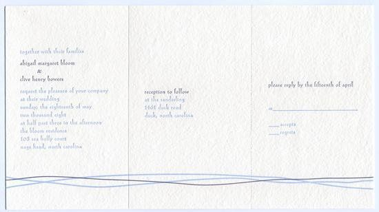 Aquavit Invitation- Printed on and antique Letterpress. 100 percent recycled cotton handmade white...