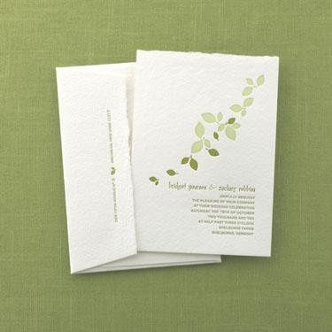 Falling Leaves Invitation- Printed on and antique Letterpress. 100 percent recycled cotton handmade...