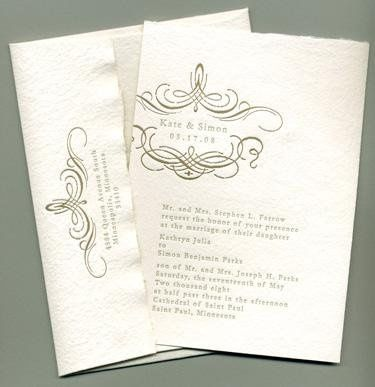 Florentine Invitation- Printed on and antique Letterpress. 100 percent recycled cotton handmade...