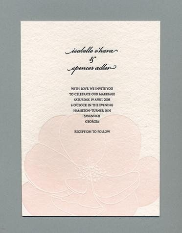 Bloom Invitation- Printed on and antique Letterpress. 100 percent recycled cotton handmade cream...
