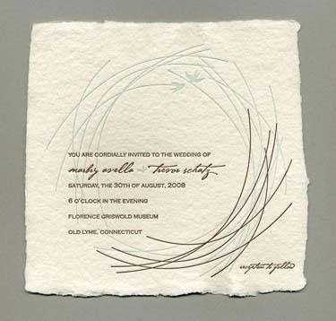 Nest Invitation- Printed on and antique Letterpress. 100 percent recycled cotton handmade cream...