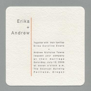 Metro Invitation- Printed on and antique Letterpress. 100 percent recycled cotton handmade cream...