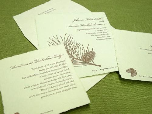 Evergreen Invitation Suite- Printed on and antique Letterpress. 100 percent recycled cotton handmade...
