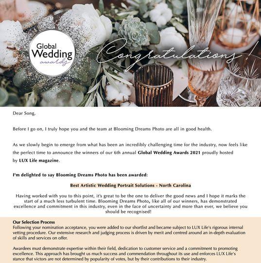 Wedding Photography Award