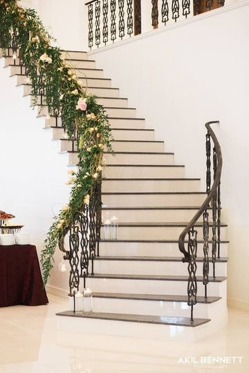 Flower-draped staircase