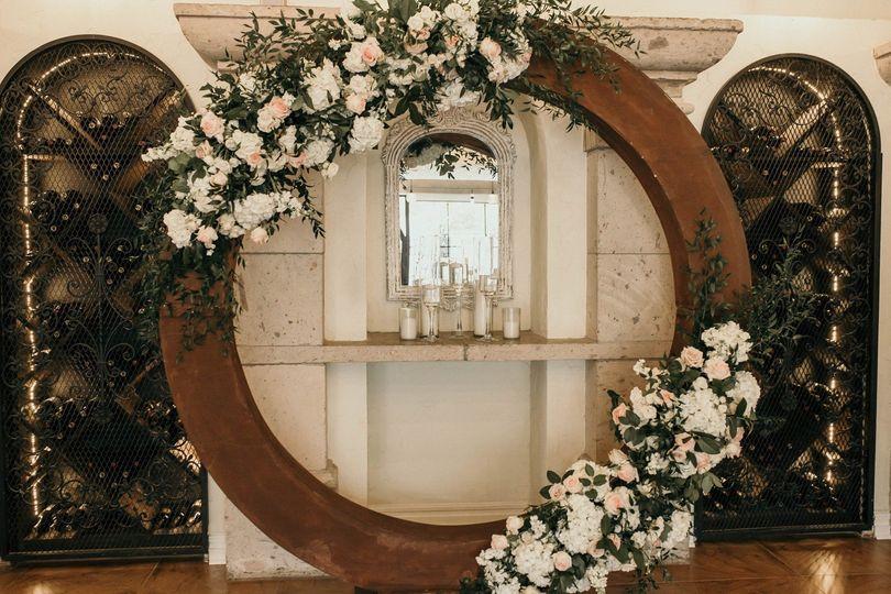 Flower-draped decor