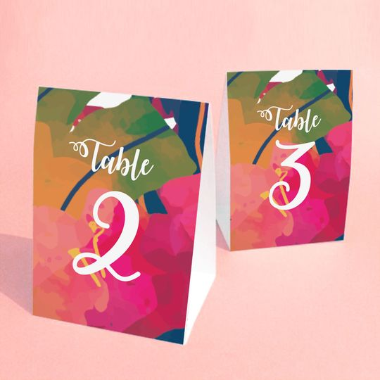 Table Numbers with the design of your wedding invitations or wedding theme