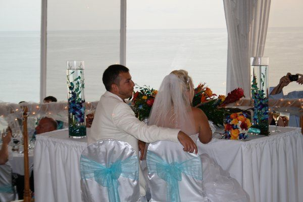 The couple at the reception