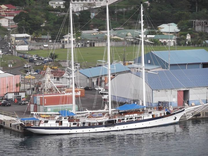 Tall Ship Mandalay docked in Grenada. She has 29 cabins. The captain will perform weddings.  Call...