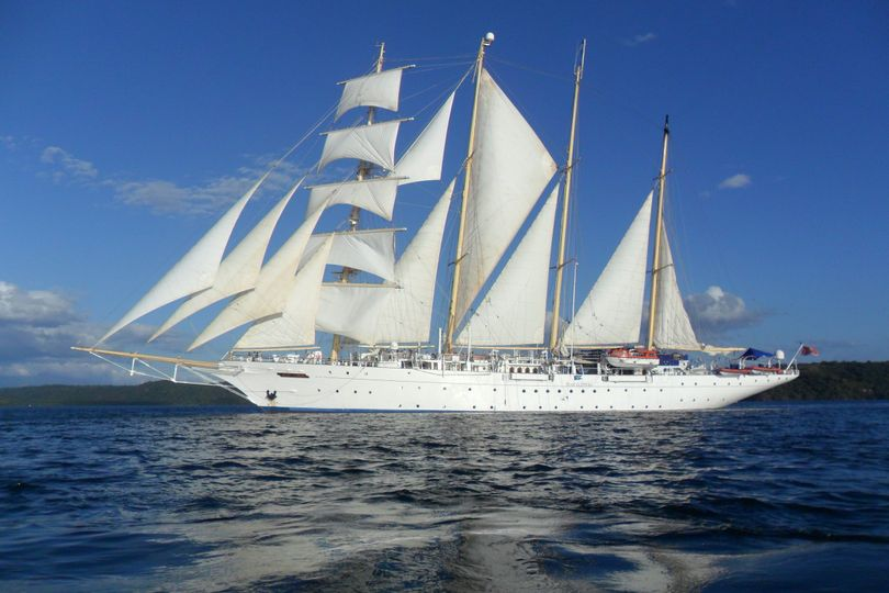Star Flyer under sail. 85 well appointed cabins in romantic settings including the Caribbean and...