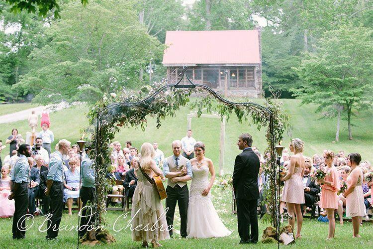 Creekside wedding ceremony