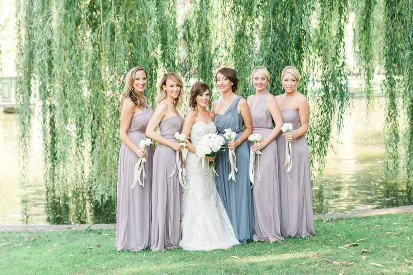 A bride and her bridesmaids in the Boston Public Garden
