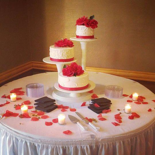 Tri stand wedding cake