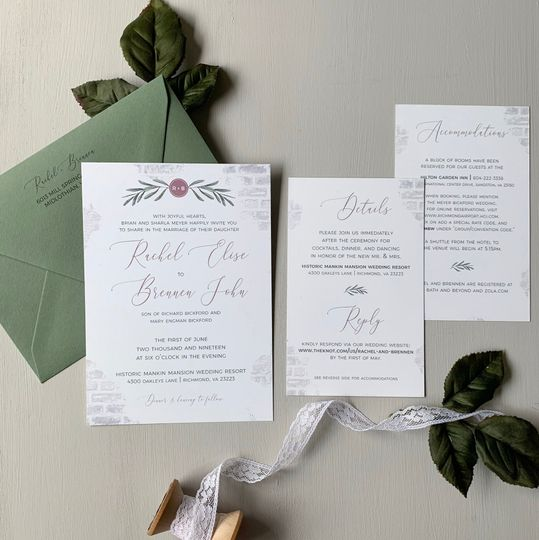 Brick and Greenery Invite