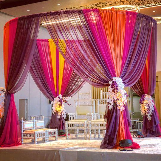 Radiant decor lighting decor silver spring md weddingwire radiant decor vibrant backdropvibrant mandap mightylinksfo