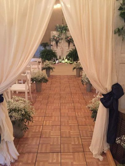 Drapery by the entrance