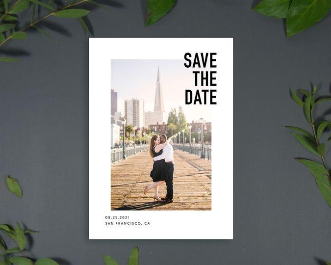 Modern & bold save-the-date card