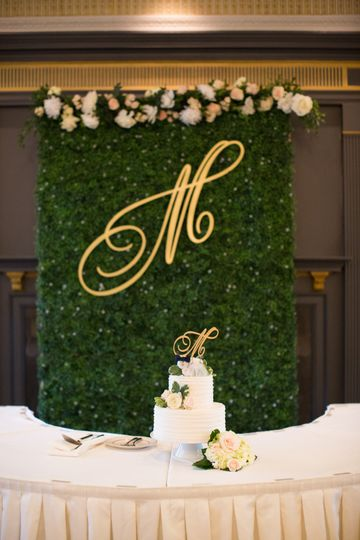 Greenery backdrop for cake