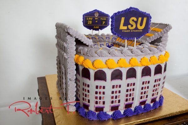 LSU Stadium cake One of our unlimited possibilities for Groom's Cakes.