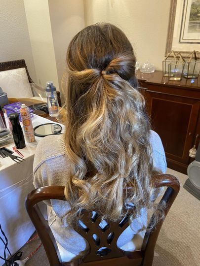 Tousled half updo