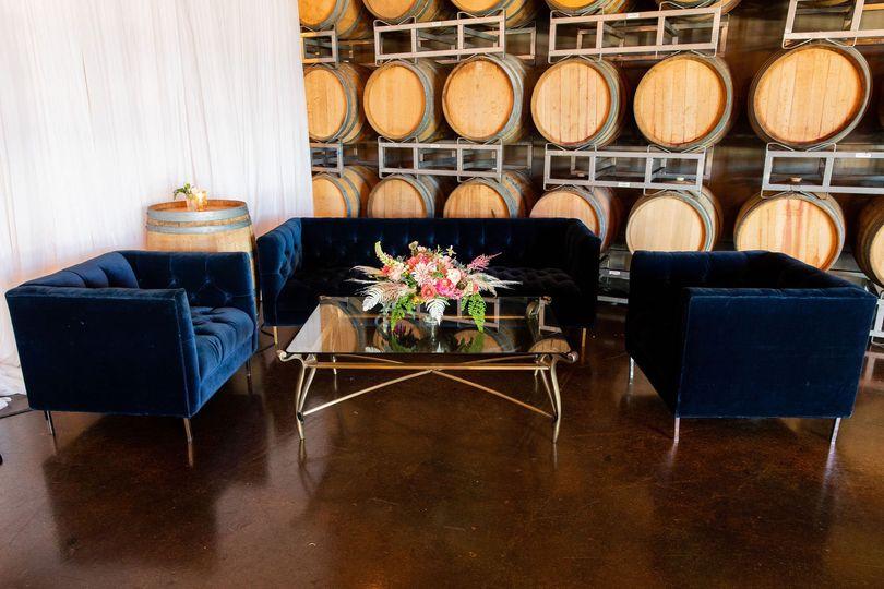 Blue velvet lounge included