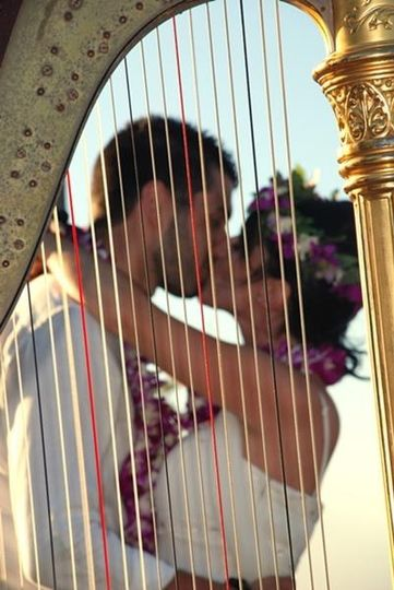 Happy couple and the harp