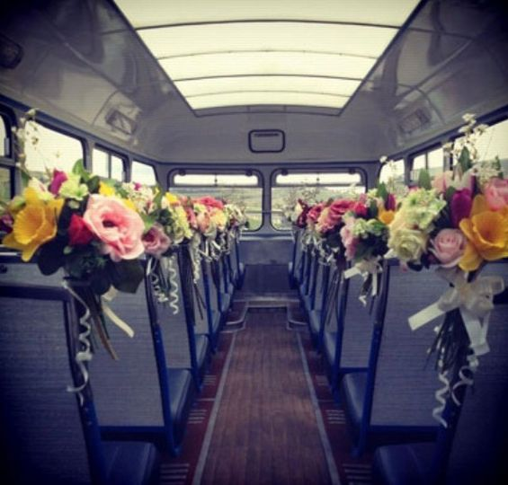 Vehicle interior with flowers