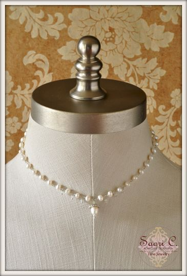 Affection Necklace in White and Blue Pearl and Aquamarine - Large lustrous white pearls linked by a...