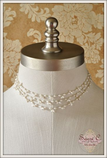 Hazy Illusion Choker Necklace in White Pearl - This is not an ordinary illusion necklace! A stunning...