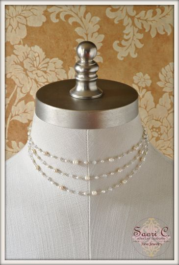Lustre Necklace in White Pearl and Rainbow Moonstone - A single strand of sensuous white rice-shaped...