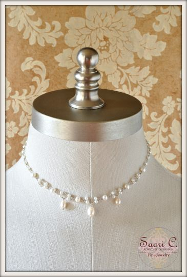 Misty Choker Necklace in White Pearl - Beautiful round white pearls linked by a handmade sterling...