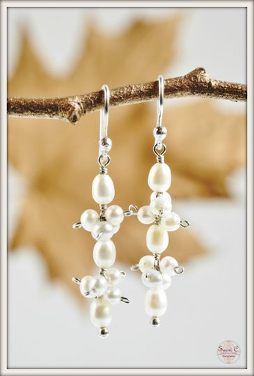 Swing Drop Earrings in White Pearl - Beautiful white rice shaped pearls dangling from sterling...