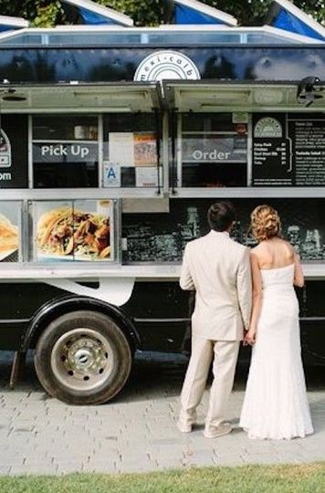 Couple by a food truck