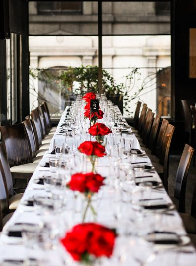 Red floral table centerpieces