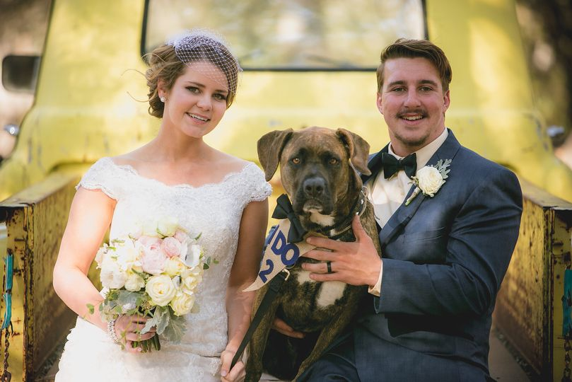 The newlyweds and their dog