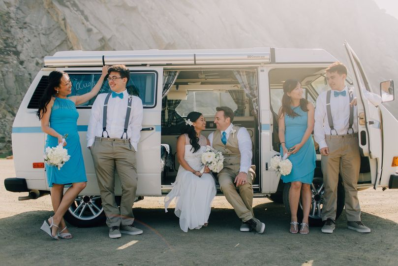 Beach wedding with a vw bus