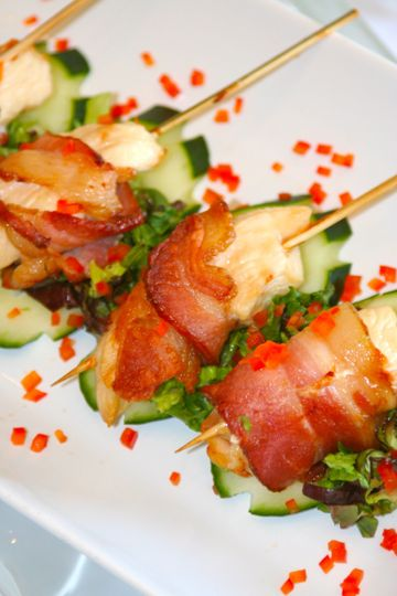 Bacon wrapped chicken satay