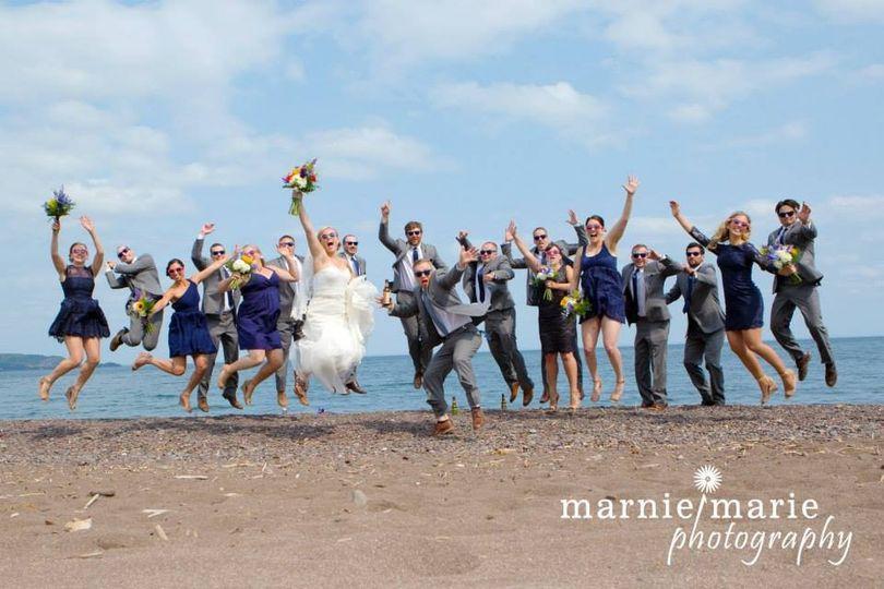 Jump fun! Lake superior ceremony site on beach at superior shores resort!