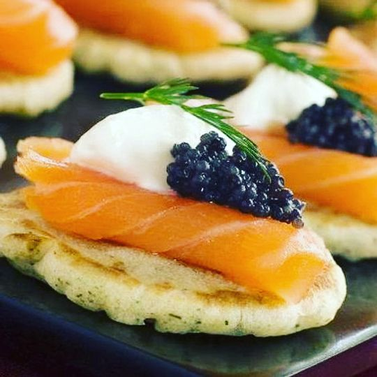Cured salmon and caviar blini