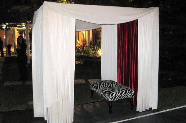 photo booth poolside in Beverly Hills mansion