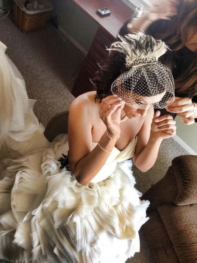 Real Bride- custom gown, comb